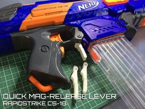 Quick Mag-release lever (Nerf Rapidstrike)  in White Strong & Flexible