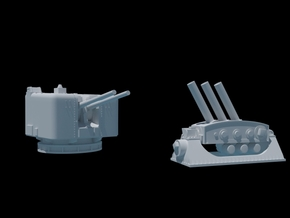 4.5 Mk6 Naval Gun and Limbo Mk 10 Mortar. 1/350. in Frosted Ultra Detail