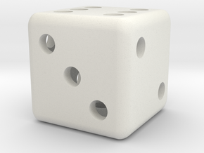 6 Sided Die Hollow 15mm in White Strong & Flexible