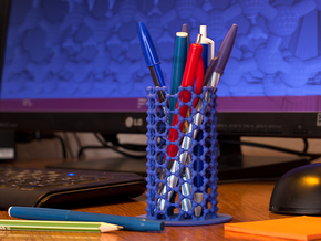NanoTube Pen Holder in Blue Strong & Flexible Polished