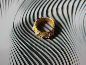 Hearst Tower Fantasy Ring in Matte Gold Steel