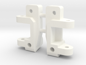 Caster Block, 0 deg, Pair, RC10 in White Strong & Flexible Polished