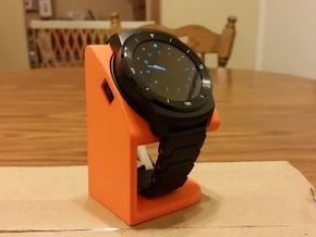 LG G Watch R Desktop Stand in Orange Strong & Flexible Polished