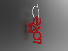 The Bicycle Keychain - LOVE in Red Strong & Flexible Polished