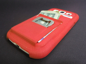 Galaxy S3 Case w/ card holder, Money Clip, n opene in Red Strong & Flexible Polished
