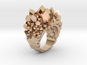 Double Crystal Ring Size 8 in 14k Rose Gold Plated