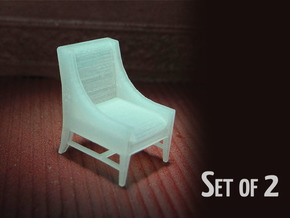 1:48 Contemporary Slipper Chair, Set of 2 in Frosted Ultra Detail