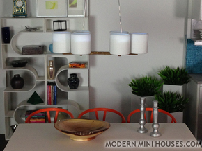 Pendant 6 - 1:12 scale modern hanging pendant lamp in White Strong & Flexible Polished