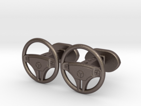 Mercedes steering wheel cufflinks in Stainless Steel