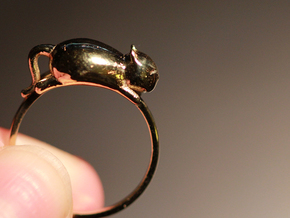 Happy Cat Ring in Polished Brass