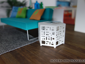 Casablanca Side Table 1:12 scale dollhouse in White Strong & Flexible Polished