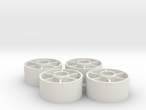 Mini-z Front Wheels 19 5 +1 in White Strong & Flexible
