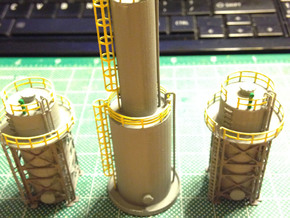 Oil Tank Tower Z Scale in Frosted Ultra Detail