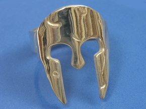 Spartan Helmet Ring - Size US 9.25 in Polished Silver