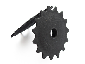 Pulley 15t for RD, hollow, flange (lower pulley) in Black Strong & Flexible