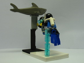 Minifig Shark Monument (knife blade) in Polished Metallic Plastic