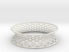 Hyperboloid Doubly-Ruled Structure Bracelet in White Strong & Flexible