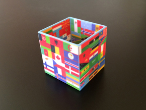 Cube with flags of the nations in Full Color Sandstone