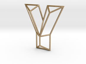 Y Typolygon in Polished Gold Steel