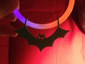 Bat Pendant in White Strong & Flexible