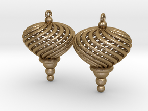 Sphere Swirl Ornaments (pair) in Polished Gold Steel