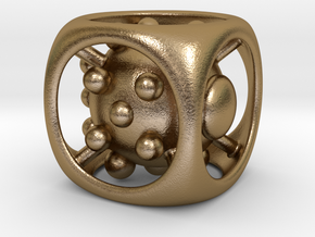 Dice No.1 M (balanced) (2.4cm/0.94in) in Polished Gold Steel