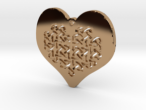 Celtic Knot heart Necklace Pendant in Polished Brass