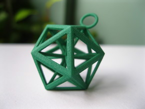 Icosahedron pendant in Green Strong & Flexible Polished