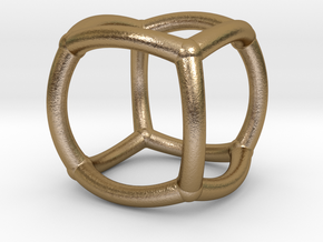 0071 Stereographic Polyhedra - Cube in Polished Gold Steel