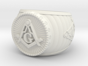 Freemason Ring in White Strong & Flexible