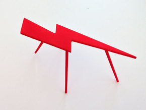 Personalize-able Lightning Bolt Flip Table Small in Red Strong & Flexible Polished
