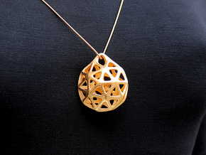 Pentagon Pendant #2270 in Polished Gold Steel