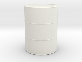 1/16 scale 55 Gallon Oil Barrel in White Strong & Flexible