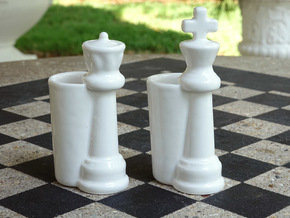 King & Queen Chess Pieces Shot Glasses-44mL/1.5oz in Gloss White Porcelain