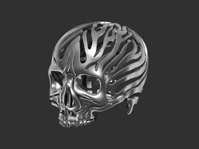Skull Flames - 6cm Top in White Strong & Flexible