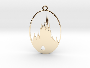 DW Inspired Cinderellas Castle 2 Inch Pendant in 14K Gold