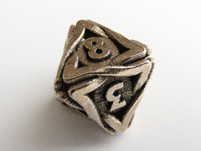 'Twined' Dice D8 Gaming Die (16 mm) in Stainless Steel