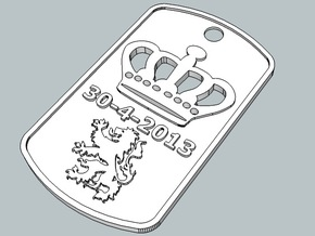 Crown dogtag 2013 in Polished Metallic Plastic