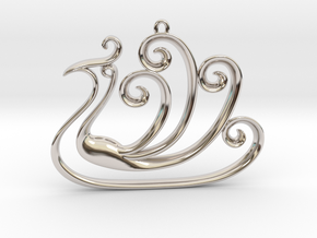 The Peacock Pendant in Rhodium Plated