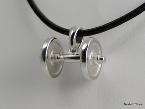 Pendant V18 - Dumbbell in Rhodium Plated