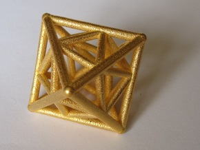 Golden Octahedron Pendant #2 in Polished Gold Steel
