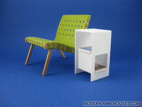 Cubed 1:12 scale Side Table in White Strong & Flexible Polished