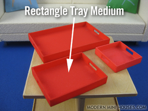 Rectangle Tray Medium 1:12 scale in White Strong & Flexible Polished