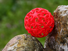 Knotted Star Ball in Red Strong & Flexible Polished