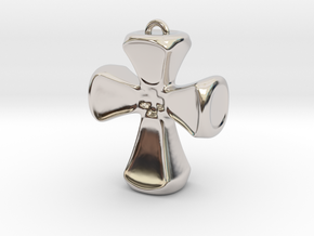 Crusader Cross Pendant/ Keyring Fob in White Strong & Flexible Polished