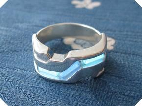 US8.5 Ring XXI: Tritium (Silver) in Polished Silver