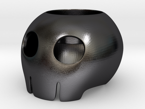 Toon Skull Tea Light Holder in Polished Grey Steel