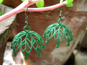 Leaf Jhumka - Indian Bell earrings in Green Strong & Flexible Polished