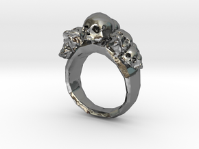 Pile of Skulls Ring Mens Size 20 in Polished Silver