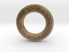 0162 Torus of Doubly Twisted Strips (p=1, d=5cm) in Polished Gold Steel